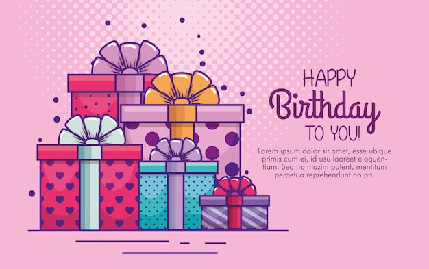 Presenteert geschenken met strik tot verjaardag