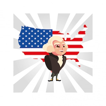 President george washington met kaart verenigde staten