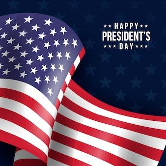 President's day achtergrond met realistische vlag