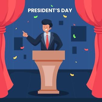 President's day-evenement met geïllustreerde man die zegeviert Premium Vector