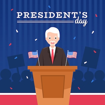 President's day met karakter cartoon en vlag.
