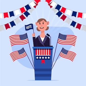 President's day met vrouw als kandidaat