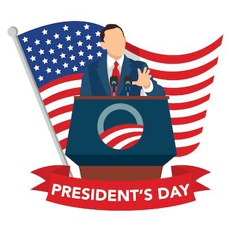 President's day viering, president van de verenigde staten die staatstoespraken leest tijdens feesten.