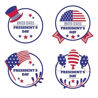 Presidenten dag badge-collectie