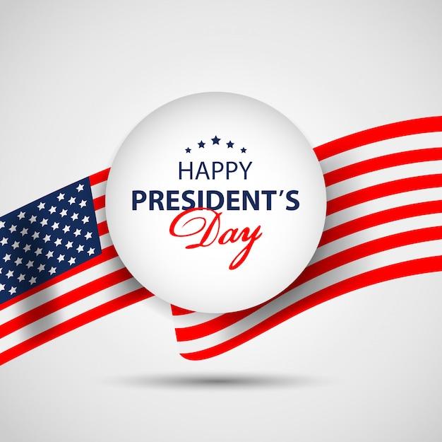 Presidenten dag papier banner achtergrond met amerikaanse vlag.