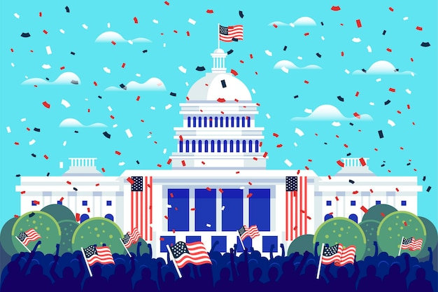 Presidentiële inauguratieillustratie met wit huis en amerikaanse vlaggen