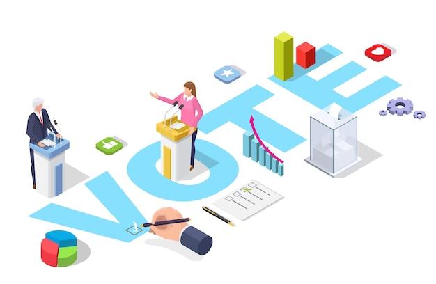 Presidentsverkiezingen debatten en stemmen infographic.