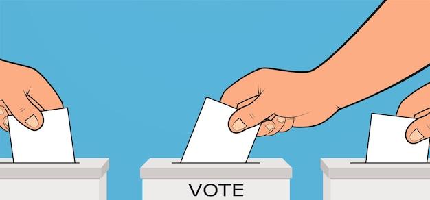 Presidentsverkiezingen, hand plaatst stembiljet met stem in stembus. presidentsverkiezingen campagne concept.