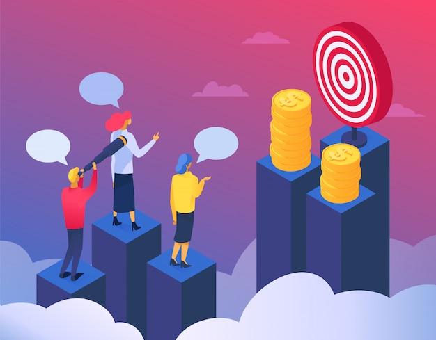 Prestatie bedrijfsconcept, illustratie. people manager karakter tekstballon voor succesvoortgang, juiste oplossing. de groei van de vaardigheden van de zakenman, het zakelijke werk van kantoorfinanciën.