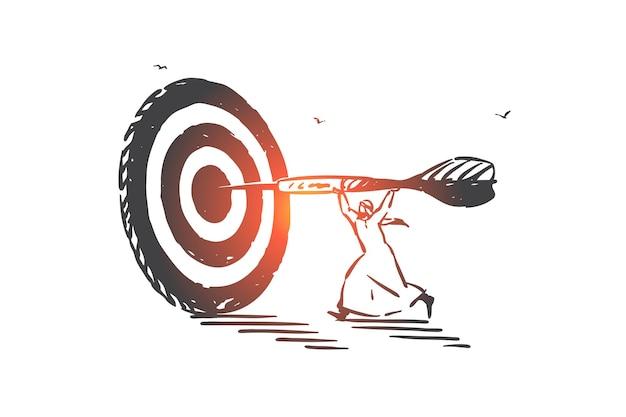 Prestatie, doel, vaardigheid concept illustratie