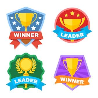 Prestatie, kampioen en wedstrijd vector logo set met gouden trofee cup. sporttrofee prestatie, winnaar en leider illustratie