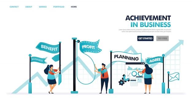 Prestaties en doelen in bedrijfs- en bedrijfsontwikkeling, vooruitgang en proces om de bedrijfsactiviteiten te vergroten