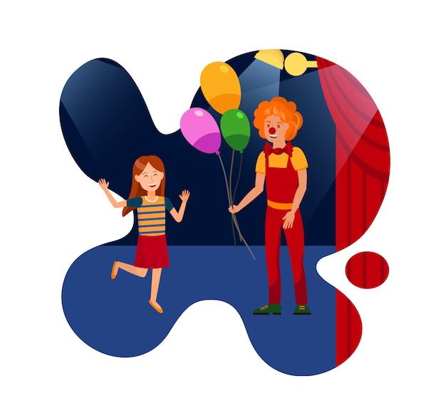 Prestaties in circus voor kinderen vlakke afbeelding