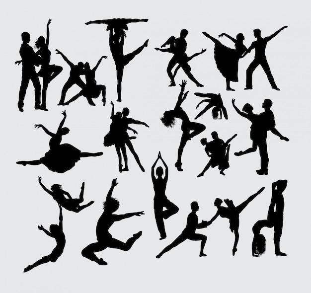 Prestaties paar ballet sport silhouet