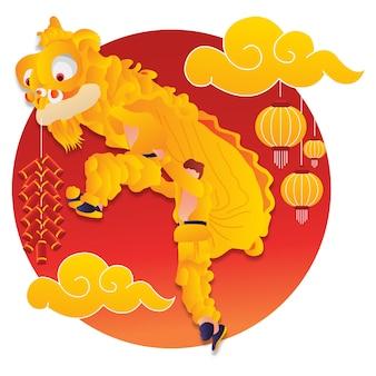 Prestaties van een leeuwendans bij het chinese nieuwe jaar