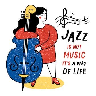 Prestaties van muzikant. vectorillustratie voor de internationale jazzdag