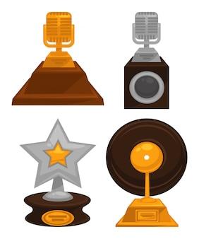 Prestigieuze eervolle gouden en zilveren muziek awards set