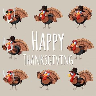 Pret gelukkige dankzegging turkije