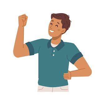 Preteen kind gebaren tonende spieren op arm
