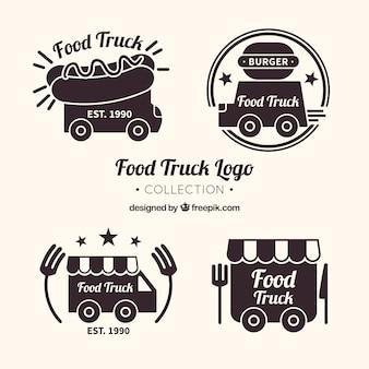 Pretpakket met logo's van voedselvrachtwagens met elegante stijl