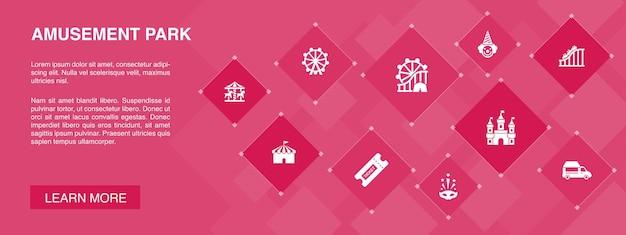 Pretpark banner 10 pictogrammen concept. reuzenrad, carrousel, achtbaan, carnaval eenvoudige pictogrammen