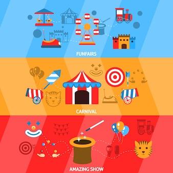 Pretpark banner set