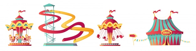 Pretpark, carnaval of feestelijke eerlijke cartoon