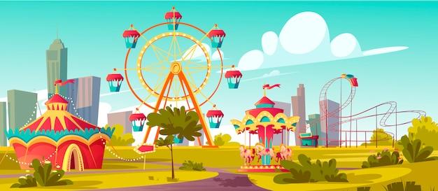 Pretpark, carnaval of feestelijke kermis cartoon