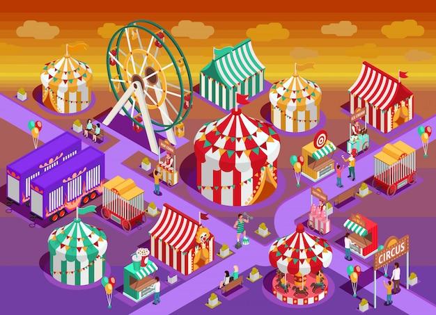 Pretpark circus attracties isometrische illustratie