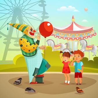 Pretpark circus clown vlakke afbeelding