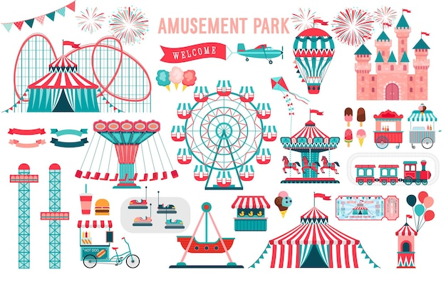Pretpark circus en kermis thema set met achtbanen carrousels kasteel luchtballon