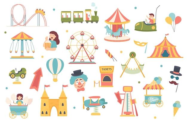 Pretpark geïsoleerde objecten set verzameling van carrousels en attracties achtbanen