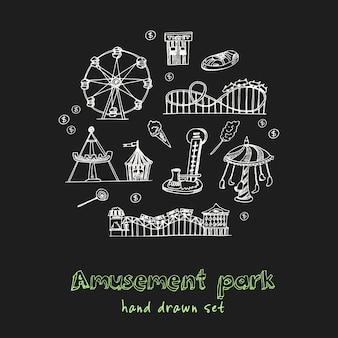 Pretpark hand getrokken doodle set