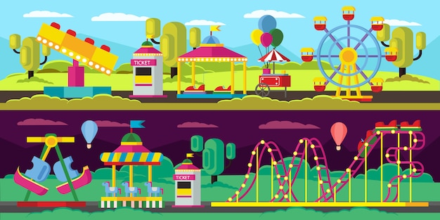Pretpark horizontale banners