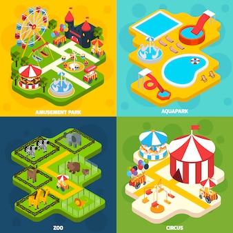 Pretpark isometrisch vier pictogrammen plein