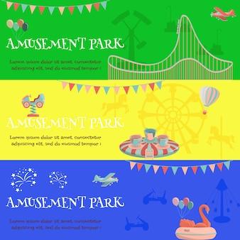 Pretpark kermis horizontale banner