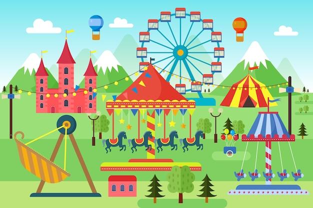 Pretpark met carrousels, achtbaan en luchtballonnen. komisch circus, kermis. cartoon carnaval thema landschap