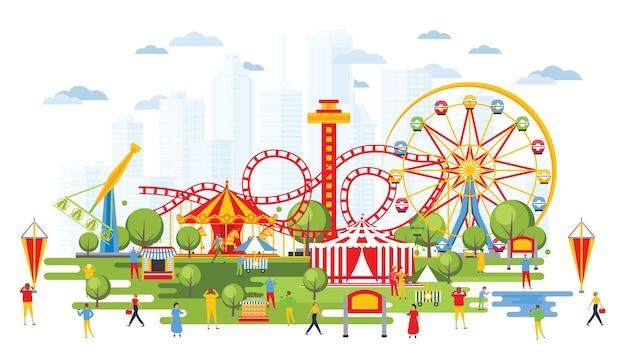 Pretpark met carrousels in cartoon-stijl. stedelijk stadsgezicht. circus.