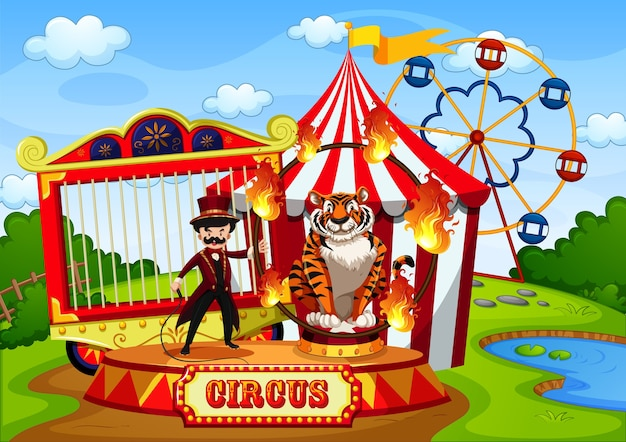 Pretpark met circus in cartoon-stijlscène