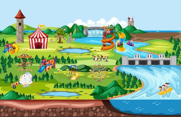 Pretpark met kermissen en veel attracties in landschapsscène