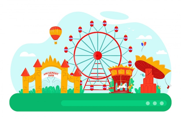 Pretpark met leuke carrousel, illustratie. cartoon ballon, fair wheel attractie en entertainment concept. carnaval kasteel op festival stad, speeltuin landschap.