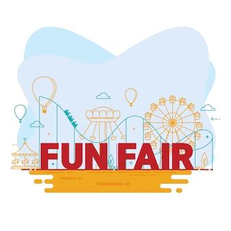 Pretpark met tent, circus, carrousels en achtbaan