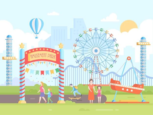 Pretpark - moderne platte ontwerp stijl vectorillustratie op stedelijke achtergrond. stadsgezicht met attracties, groot wiel, achtbaan, mensen. heteluchtballon, zon aan de hemel. entertainmentconcept
