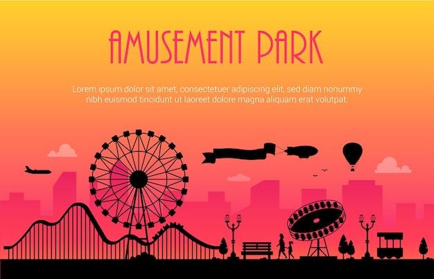 Pretpark - moderne vectorillustratie met plaats voor tekst op stedelijke achtergrond. groot wiel, attracties, banken, lantaarns, bomen, mensen. heteluchtballon, vliegtuig, luchtschip in de lucht