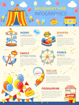 Pretpark potentiële infographics lay-out