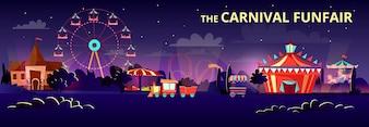 Pretpark van kermis carnaval 's nachts of' s avonds met cartoon ritten.