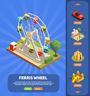 Pretparkweb-pagina met 3d isometrisch van de reuzenradsamenstelling