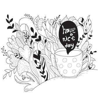 Prettige dag. herfst doodle - kleurboek -template