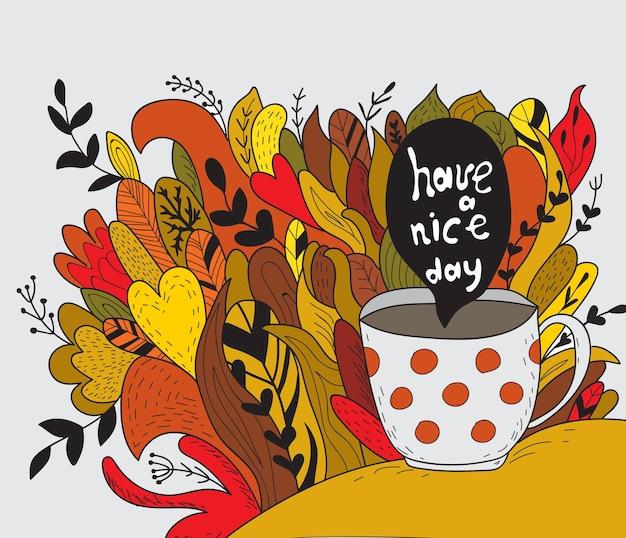 Prettige dag. herfst doodle - sjabloon