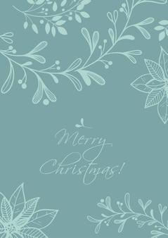 Prettige feestdagen of merry christmas-sjabloon met handgetekende decoratieve elementen, twijgen en bloemen.